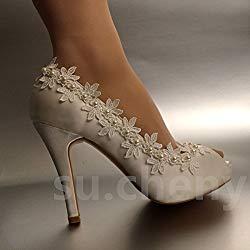 fc0f3a75300470 JINGXINSTORE Pearl Silk Lace Open Toe Kristall Hochzeit Schuhe Braut